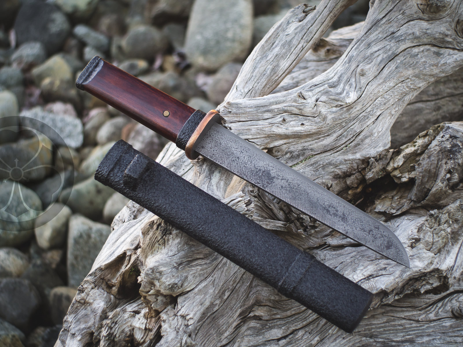Island Blacksmith: Charcoal forged tanto, reclaimed steel.
